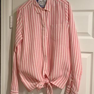 J Crew Button Down Linen Top with tie waist